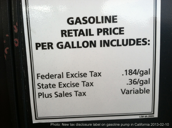 2013 excise tax on gas in CA