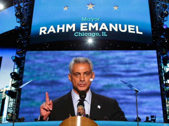 Chicago Mayor Rahm Emanuel at DNC 2012. Image Credit: AP/Charles Dharapak