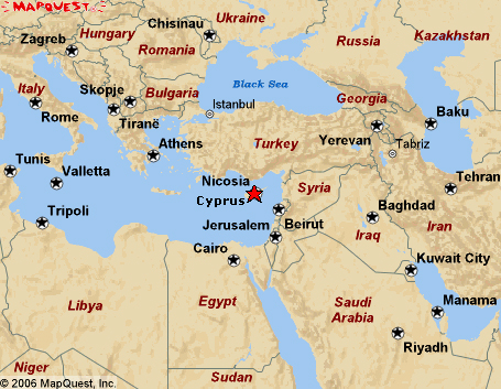 The island nation of Cyprus, located south of the country of Turkey, North of Egypt and just East of Israel and Syria.