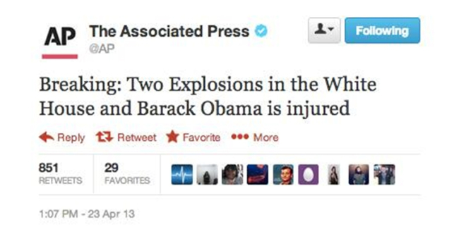 AP Hacked: False report of attack at the White House. (Image Credit: AP)