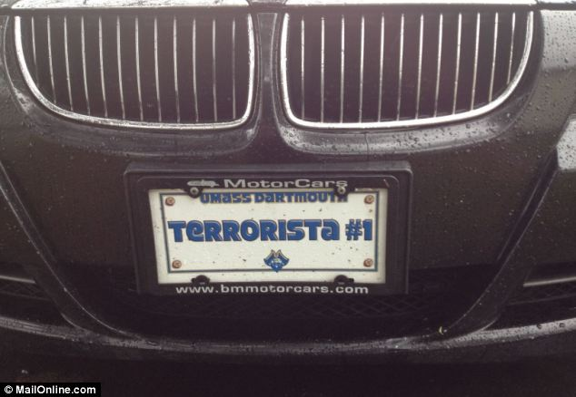 Vehicle facsimile license plate displaying 'Terrorista #1' allegedly belonged to a friend of Boston terror suspect Dzhokhar Tsarnaev. The vehicle's owner, a foreign national believed to be from Kazakhstan a was arrested for immigration violations.