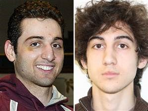 "Tamerlan Tsarnaev, 26 (formally ""suspect #1"" - dead) on left and Dzhokhar Tsarnaev, 19 (""suspect #2, captured) on right."