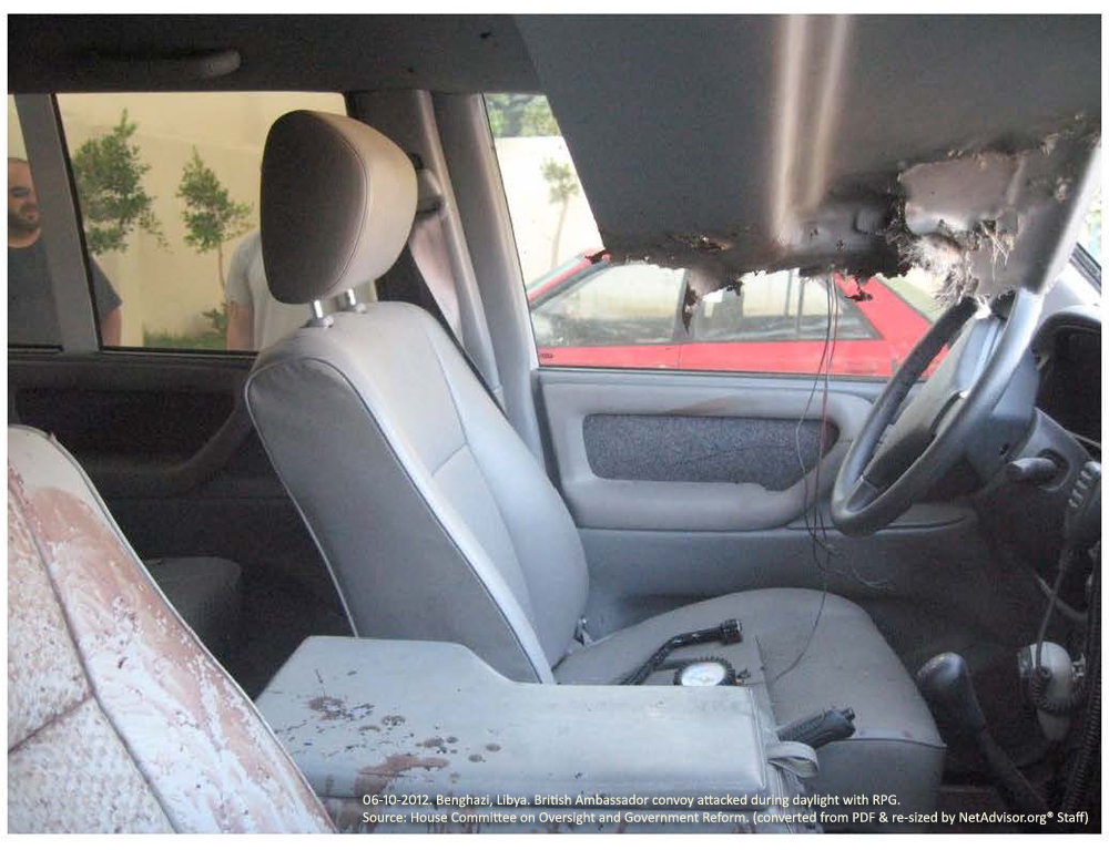 Photo #3: Benghazi, Libya. Two-car convoy carrying the British Ambassador to Libya from a conference on reforming Libyan military law was attacked in broad daylight by a militant with an RPG.
