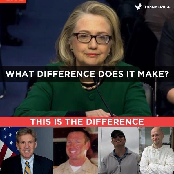 "Then Secretary of State Hillary Clinton testified about Benghazi in fall of 2012. Under pressure from Clinton cracked under pressure over how 4 Americans died in Benghazi. Clinton said, ""What difference at this point does it make."""