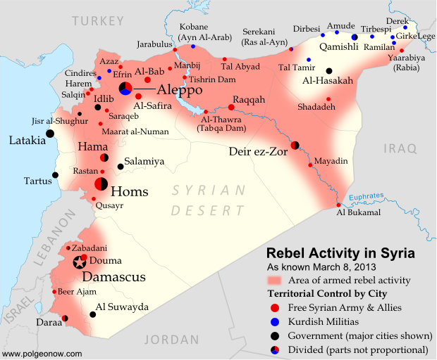 """Rebel Activity in Syria"" as of 03-08-2013 (Graphic Credit: polgeonow.com)."