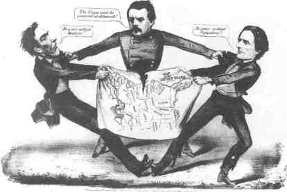 Cartoon of the 1864 Presidential Election: Left to right: Abraham Lincoln, George B. McClellan, and Jefferson Davis. Source: Daily Illinois State Journal, Oct. 29, 1864, Illinois State Library