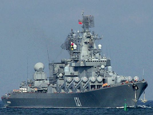 The Moskva, a missile cruiser flagship of the Russian Black Sea fleet, sails Sept. 10, 2008. (Photo: Vasiliy Batanov, AFP/Getty Images. Caption Credit: USA Today).