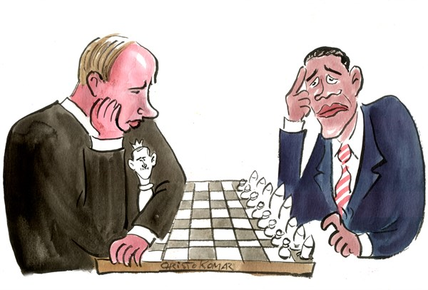 """Political cartoon: Russia's Putin protecting his """"king"""" (Syrian President Assad) while playing chess with President Obama who appears indecisive of the next, or first move."""
