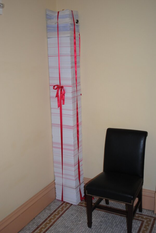What 20,000 pages of ObamaCare regulations look like. (Photo Credit: Town Hall, 03-12-2013)