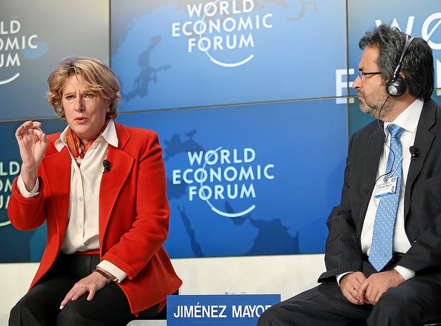 OPIC president Elizabeth L. Littlefield and Jiménez Mayor, Prime Minister of Peru at the World Economic Forum in 2013