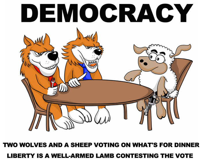 "Political cartoonists and others have described variations of Gary Strand's 1990 post on Usenet: ""Democracy is two wolves and a lamb voting on what to have for lunch."" The modern version of this cartoon added an armed sheep, suggesting holding up Second Amendment rights to defend from ""Tyranny of the Masses."" In 1787 the Federalist Papers (10) discussed the risk of ""the superior force of an interested and overbearing majority."" (Image Credit: Original owner not known. Please advise if known for credit.)"