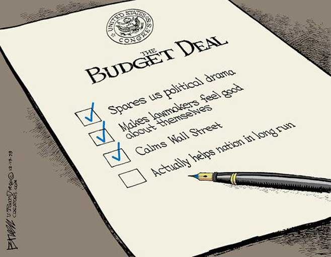 "Ryan-Murray 2-year ""budget"" deal. Political cartoon by Steve Breen-Creators Syndicate."