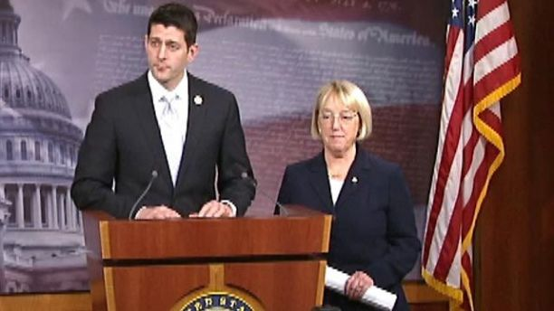 Senate Budget Committee Chairwoman Patty Murray (D-Wash.), and House Budget Committee chairman, Paul Ryan (R-Wis) hammer out bipartisan two-year budget deal (Photo Source Credit: Fox News).