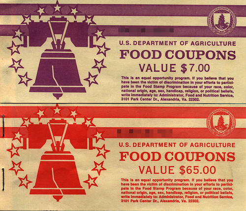 U.S. Vintage Food Stamps (Coupons) Source: Public Domain. Owner credit not known. Advise to attribute.