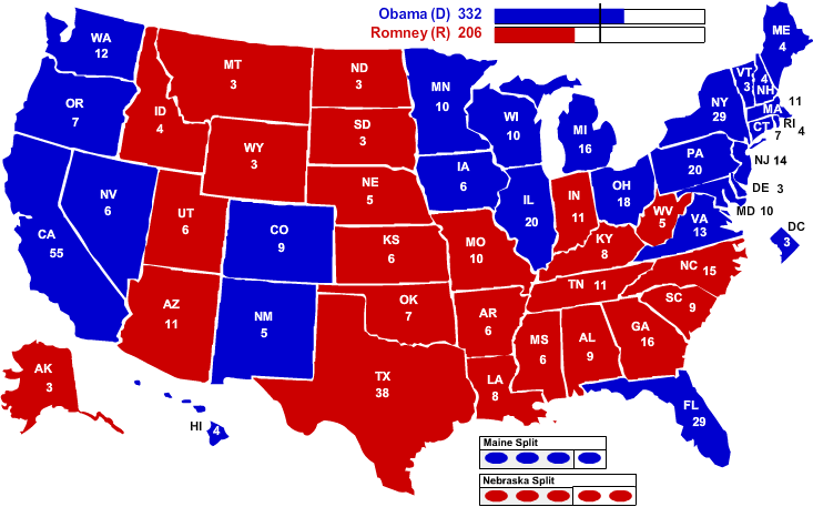 2012 Election Map by State Electoral Votes. Credit: Political Maps/ NY Times
