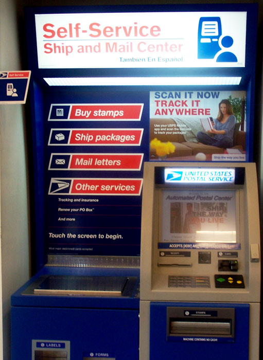 USPS Automated Postal Machines (APS) have been in service since 1998. APS uses touch screen technology using pictures and simple words to facilitate mailing most letters, packages or just buying forever stamps (Photo: uncredited. Please advise for credit).