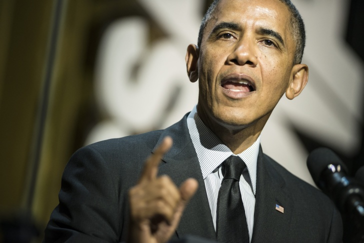 President Barack Obama speaking in Los Angeles, California at the University of Southern California (USC) Shoah Foundation Ambassadors for Humanity May 7, 2014. The President spent another three days in California fund raising. Photo credit: BRENDAN SMIALOWSKI/AFP/Getty Images