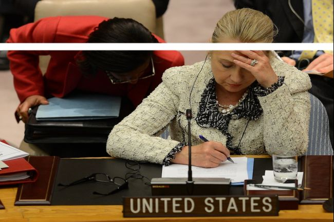 "Former Secretary of State Hillary Clinton at UN Security Council meeting on ""peace and security in the Middle East and doodles on her remarks."" (Photo Credit: EMMANUEL DUNAND AFP/Getty Images. Source: Global Post)"