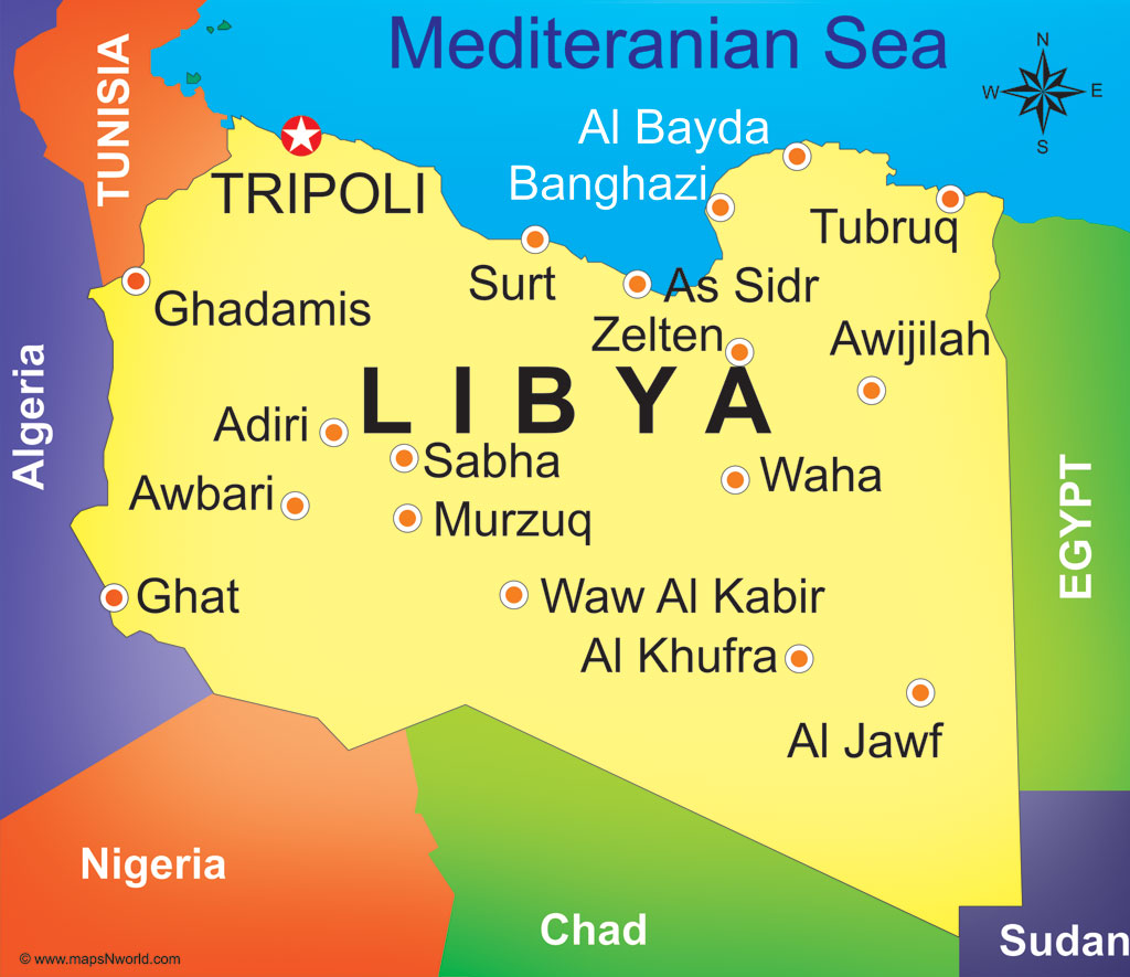 County of Libya and border nations. Credit: mapsNworld.com