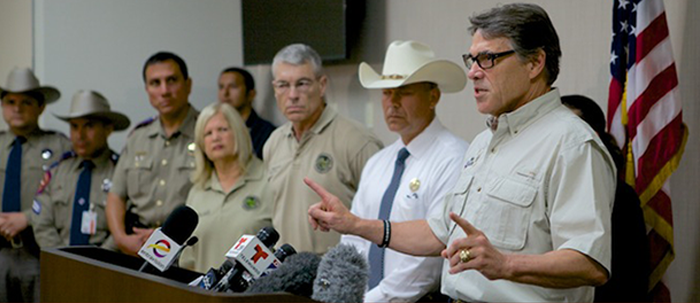 Texas governor Rick Perry address border security issues. (c) Texans for Rick Perry, July 2014