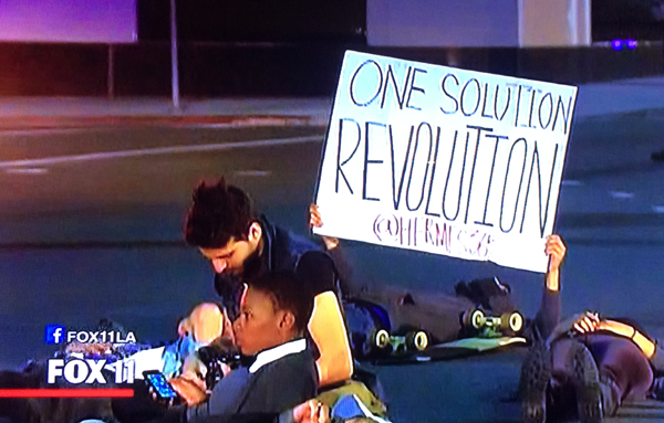 "Peaceful protestors sit and lye down in the street in Beverly Hills, CA. One ""protestor"" next to a green skateboard holds up a sign with no reference to Ferguson or Michael Brown and calls for a ""revolution."" Image Credit: Fox News Los Angeles."