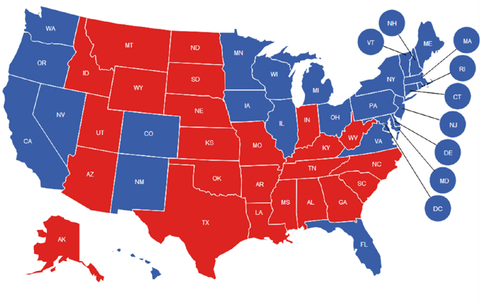 2012 General Election Map (Final). Red States (R), Blue States (D).