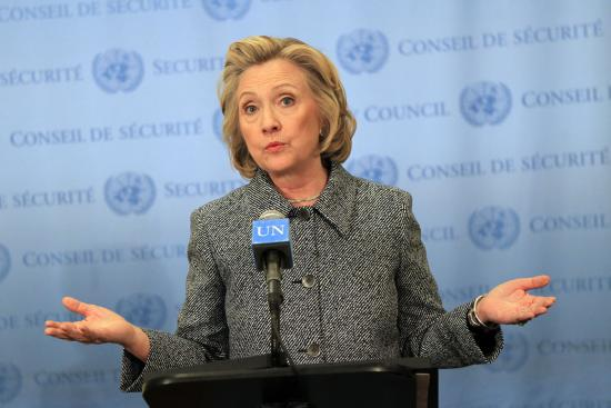 Hillary Clinton held a press conference at the United Nations in New York which included answering questions about her controversial email scandal (Image Credit: Steve Sands/WireImage).