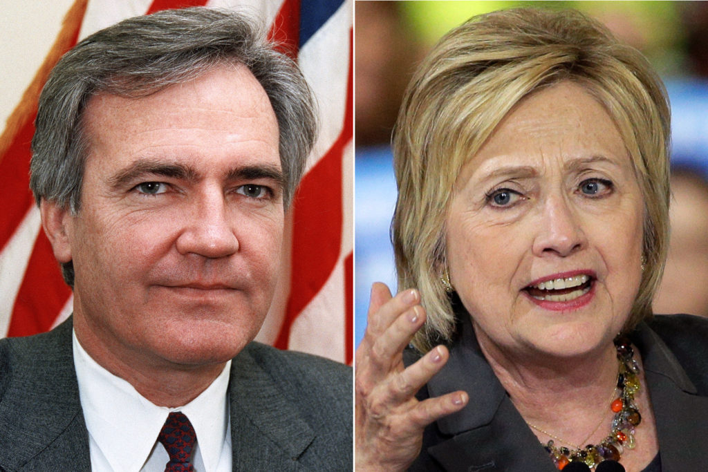 Former Bill Clinton White House Council, Vince Foster and Hillary Clinton (Image credit: NY Post).