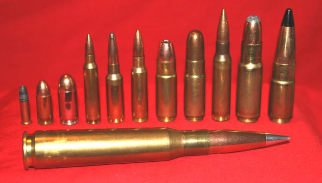 """Explanation of Ammo Types:  Left to Right: .22 LR, 9mm, .45 ACP, 5.56/.223, 6.5 Grendel, 6.8 SPC, 458 SOCOM/250, .458 SOCOM/500, 7.62/.308, .470 Rhino, .500 Phantom, down in front, .50 BMG. One of the smaller caliber of the group the 5.56/ .223 is the one that are used in the so called """"assault"""" rifles, otherwise called AR-15's. The larger caliber are harder to find and have the capacity to do far more damage but not under controversy. A single shot gun shell (bird-shot or slug) can do more damage at closer range than a single shot from an AR.  Image owner: unknown or public domain. Image from public domain forum post."""