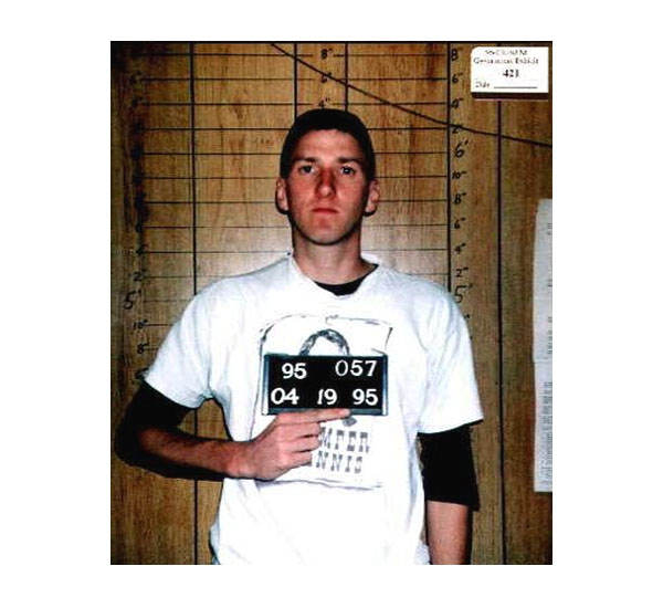 Convicted Oklahoma City Terrorist, Timothy McVeigh  killed 168 people and injured over 600 after using truck bomb to blow up federal building.